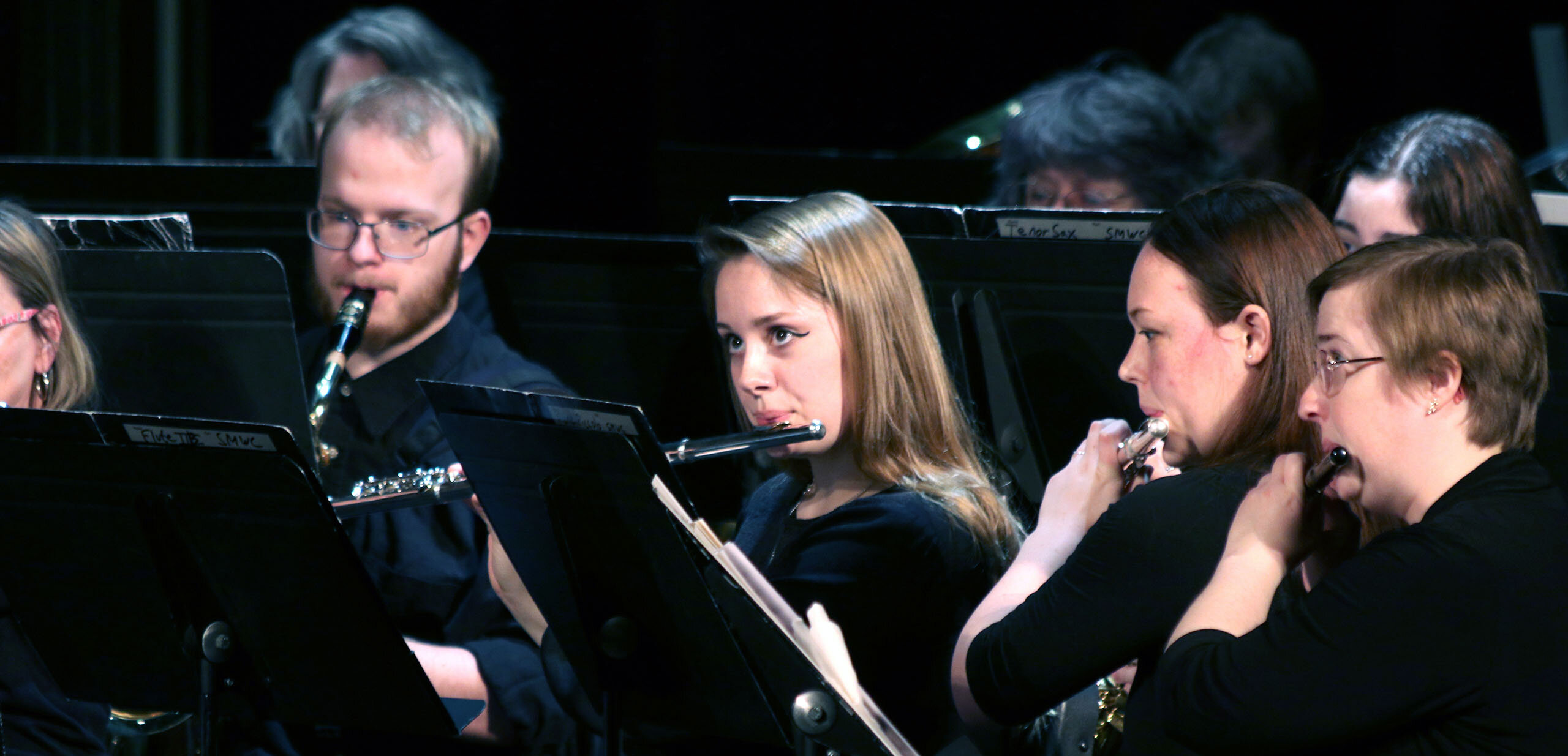 Flautist playing during a concert