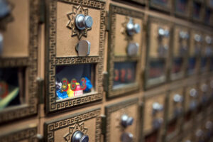 A closer look at the wall of mail boxes