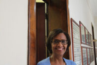 Dee Reed outside of the office of Diversity, Equity and Inclusion