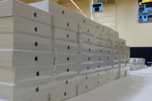 A large stack of iPad boxes