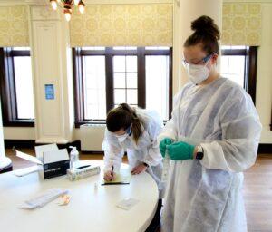 SMWC nursing students preparing tests
