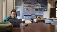 Girls studying in the SMWC student lounge