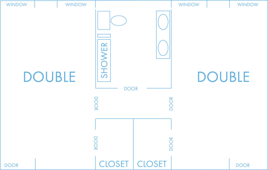 Double layout with shared bathroom