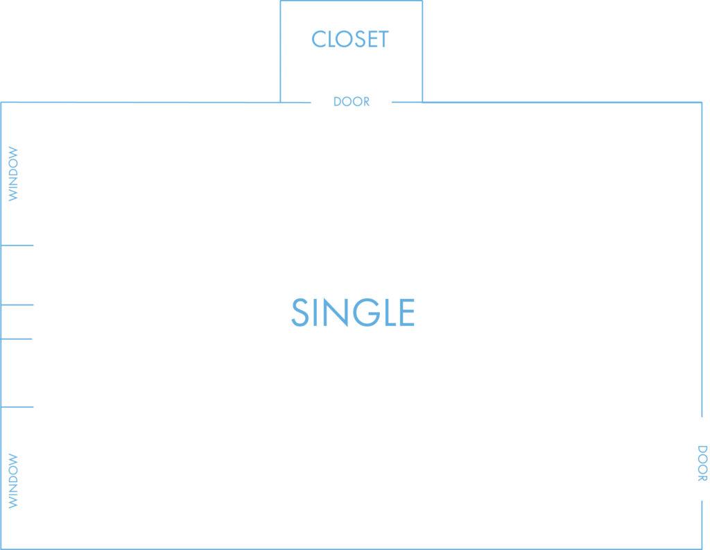 Single layout with community bathroom