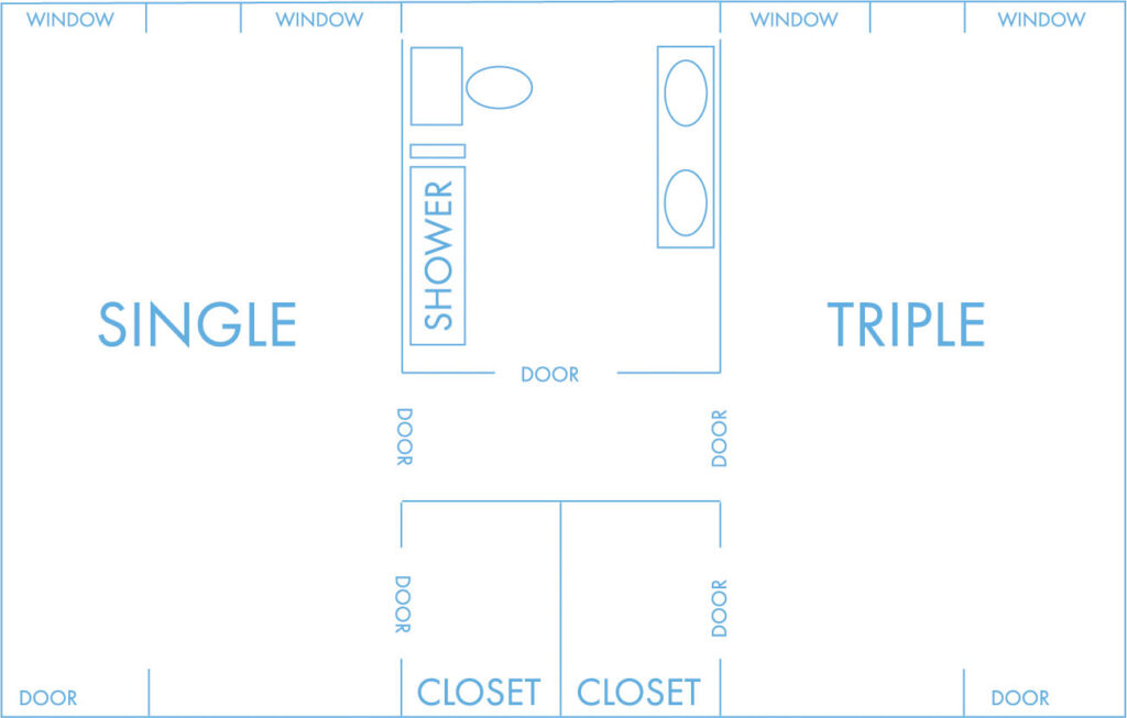 Triple layout with shared bathroom