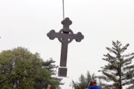 Cross being lifted by crane
