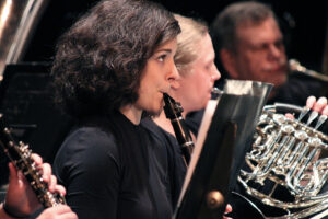 Member of the SMWC band playing the clarinet