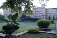 Sunken Gardens - in front of Le Fer Hall