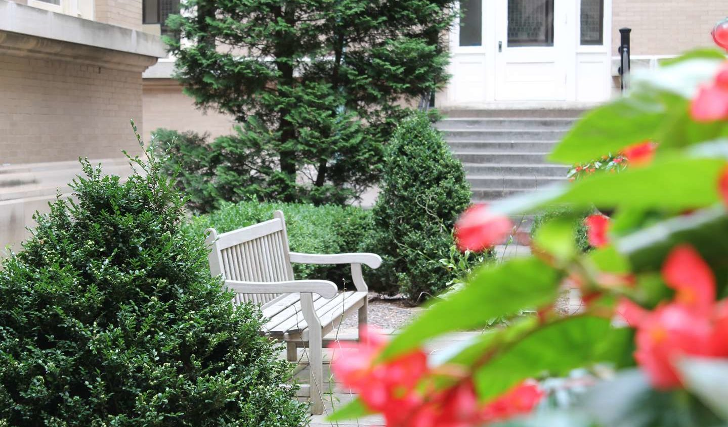 bench in the Guerin courtyard