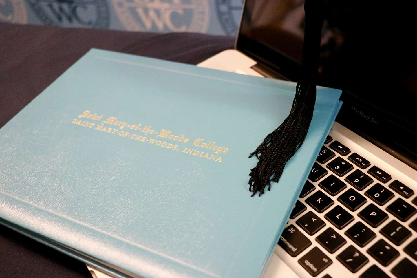 SMWC diploma, cap and keyboard