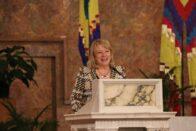 President King speaking in the church