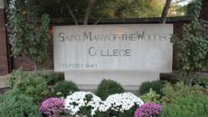The front gate sign that says Saint Mary-of-the-Woods College.