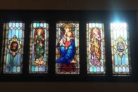 Stained glass windows in Le Fer Hall