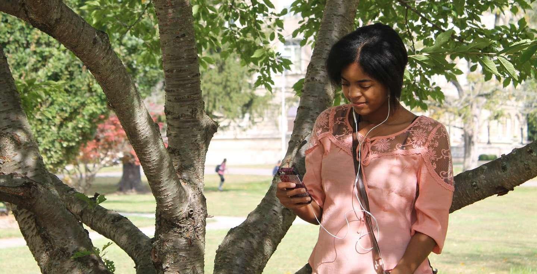 student on phone